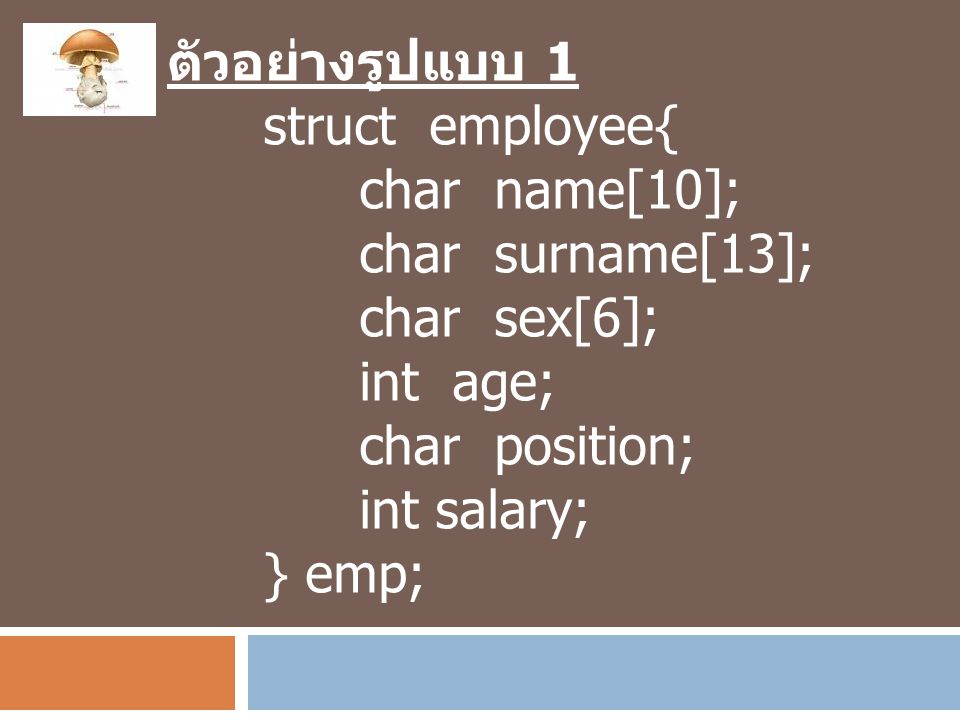 ตัวอย่างรูปแบบ 1 struct employee{ char name[10]; char surname[13]; char sex[6]; int age; char position;